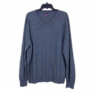 UntuckIt Men's Gray Merino Wool V-Neck Sweater 2XL